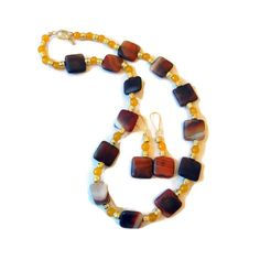 Autumn Beaded Necklace and Earring Set Yellow от CloudNineDesignz