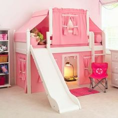 Girls Bunk Beds With Slide Maxtrix Kids Playhouse Loft Bed With Tent And Slide