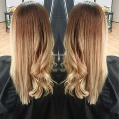 Solid ombre straight vs. curly #sombre #ombre #balayage follow me on instagram @hairbyshannyyn