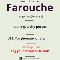 farouche meaning and examples Weird Words, Rare Words, New Words, Learn English Grammar, Learn English Words, English Writing, English Vocabulary Words, English Phrases, Interesting English Words