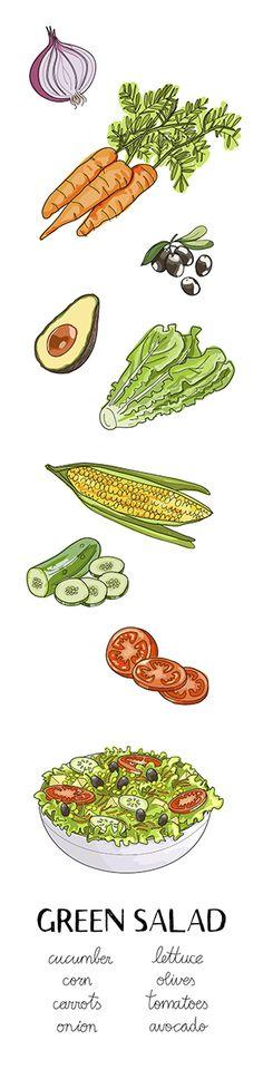Green salad ingredients. Hand drawn vector illustration #salad #healthy food #vegetables
