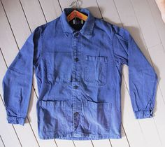 VTG French Blue Washed Out Faded Workwear work Wear Chore jacket 50s hobo - 06