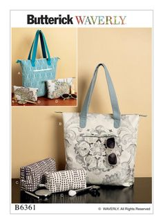 Tote bag and makeup bag sewing pattern from Waverly and Butterick. B6361.