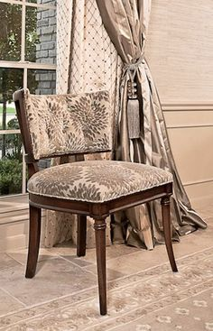 like the lines and fabric - Gabrielle Chair by Hickory Chair http://www.hickorychair.com/Furniture/All-Furniture/Atelier/i505745-Gabrielle-Side-Chair.aspx