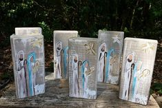 Hand painted wooden block nativity scene. Each block is cut sanded and painted by myself in Alabama. There will be slight differences in wood and painting because no two are exactly alike! Size of block is 7.5 inch tall and 2inx4in
