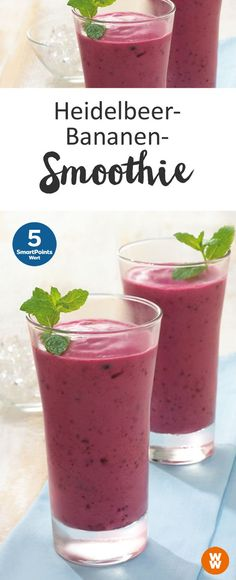 Heidelbeer-Bananen-Smoothie delicious blueberry and banana smoothie 5 SmartPoints / serving, Weight Watchers in 10 min. Smoothie Detox, Smoothie Fruit, Blueberry Banana Smoothie, Apple Smoothies, Smoothie Drinks, Smoothie Bowl, Healthy Smoothies, Healthy Drinks, Detox Drinks