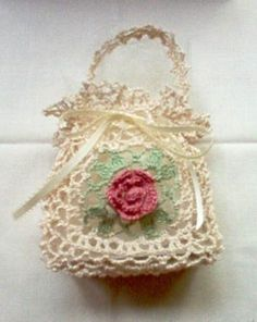 "Crochet Purses Design -Hand Crochet Lace - I hand crocheted this gorgeous ""Victorian Rose Gift Bag"", which measures approx. high,(not including handle) across, sides Crochet Sachet, Cotton Crochet, Thread Crochet, Love Crochet, Crochet Gifts, Crochet Flowers, Crochet Shell Stitch, Crochet Motif, Crochet Designs"