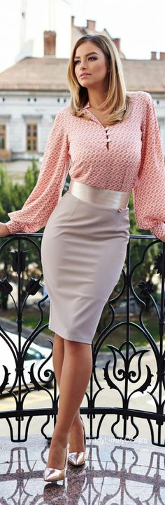 Another Mother's Day idea - such a great look, head to toe, especially the pallet of soft salmon pink, satin and matte grey, and silver. Did I mention the sleeves? the waistband? the shoes? (Endless Seas) (via Alicia Melanie draper | cute outfits I want to wear)