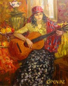 Gypsy Woman with Guitar by S. Guitar Painting, Guitar Art, Gypsy Style, Bohemian Style, Keith Richards, Playing Guitar, Mystic, Watercolor Paintings, Culture