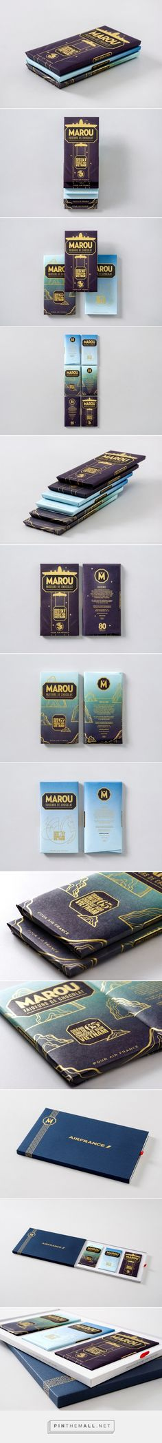 """Marou Chocolate for Air France """"Air France approached Marou Chocolate to commission a specially designed Marou chocolate bar for their annual charity gala. The theme would be celebrating the Paris to Saigon route. A connected 3 bar set which draws inspiration from the extraordinary graphic history of Air France, the wonders of Vietnam, and that silky smooth ride in the sky at 30,000 ft."""""""