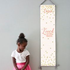 "Custom/ Personalized pink striped and gold hearts ""Loved beyond measure"" canvas growth chart.  Perfect decor for girl's room or baby girl nursery!"