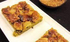 Baklava (arzak). Para veganizarla: sustituir mantequilla por margarina y mil por sirope de agave
