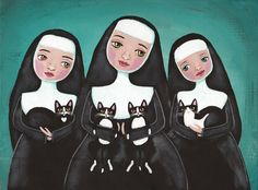 Nuns and Their Cats Original Folk Art Painting by KilkennycatArt