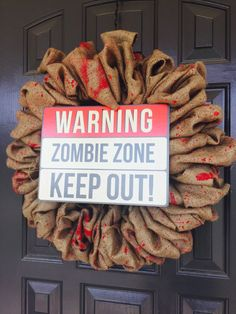 Halloween Bloody Zombie Burlap Wreath by CarolinaConcepts on Etsy