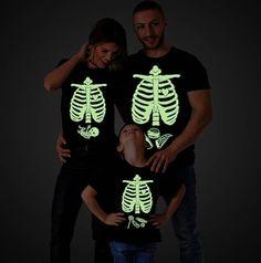 Matching Family Halloween Skeleton shirts, Glow in the dark halloween shirt