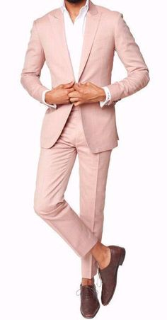 slim cut wool suit with peak lapel, and double vent. Flat front trousers with waist adjusters (no belt loops). *This is a made to measure item. Detailed instructions will be provided. Formal Attire For Men, Prom Suits For Men, Formal Suits, Mens Suits, Mens Fashion Blazer, Suit Fashion, Prom Fashion For Guys, Traditional Indian Mens Clothing, Pink Suit Men