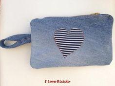 pochette jeans con cuore in maglia www.facebook.com/ilovericiclo