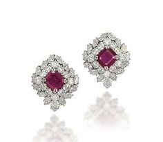 by Each centering upon a ruby in a brilliant-cut, and shaped diamond mounted in and Ruby Jewelry, Ruby Earrings, Small Earrings, Diamond Jewelry, Fine Jewelry, Bullet Jewelry, Geek Jewelry, Jewellery Box, Harry Winston
