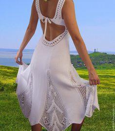 Купить Вязаный сарафан «Обольщение грацией » - белый, вязаный сарафан, ажурный сарафан