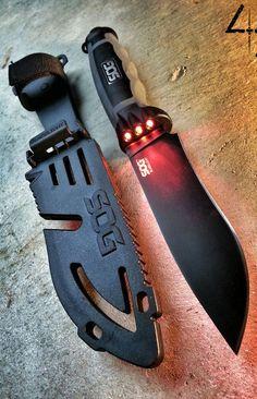 SOG BladeLight Tactical Fixed Blade Knife wtih Light BLT22K-CP - Built-in 6 Red LEDs, Hardcased Black 4.5 Blade, GRN & TRP Handle, Hard Molded Nylon Sheath