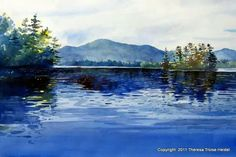 Watercolor landscape lake pond