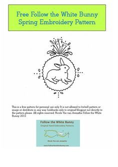 Free bunny embroidery pattern from Nicole.