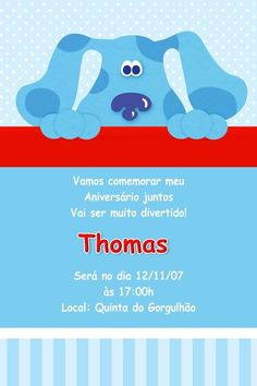 Convite digital personalizado As Pistas da Blue 007