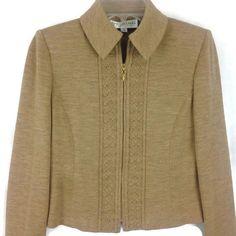 Vintage St. John Collection Camel Tan Knit Zip Blazer Sweater Jacket Size 4 EUC #StJohn #Blazer