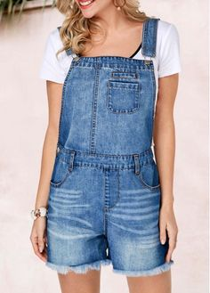 Cheap cheap jumpsuits rompers Jumpsuits & Rompers online for sale Embellished Jumpsuit, Romper With Skirt, Short Overalls, Overalls Fashion, Fashion Outfits, Jumpsuits For Women, Overall Shorts, Denim Shorts, Denim Outfit