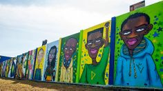 Para os organizadores, as obras têm potencial de divulgação no mundo todo, já que serão fotografadas por turistas a caminho da Arena Corinthians. Acima, a obra do artista Oito ou Oitenta & Maloka. (Foto: Léo Pinheiro/ DIVULGAÇÃO 4KM)