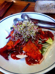 양산 바루 이런 이게 해초 비빔국수고 앞에건 샐러드네 ㅜㅜ