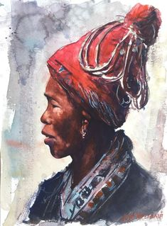 """Portraits Of The World  Original Painting in Watercolor 9"""" x 12"""" NOT A PRINT  