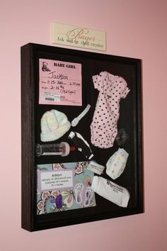 Shadow box with babys stuff from the hospital.way better than sitting in a box somewhere wish I would have thought of this with Kailyne Ann Bradley :) I love my baby girl. (: can't wait to have another sweet baby. My Baby Girl, Our Baby, Baby Baby, Baby Girls, Baby Girl Rooms, Shower Bebe, Baby Shower, Do It Yourself Baby, Everything Baby