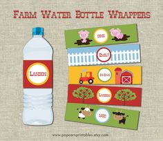 Farm Animal Water Bottle Wrappers - Printable- Instant Download- Pig, Tractor, Barn, Tree, Apple, Fence, Pig, Cow, Bull - Red, Yellow, Blue