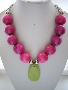 Chunky Fuschia Pink Wooden Bead Necklace by DesignsbyPattiLynn, $50.00