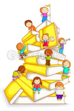 Illustration about Vector illustration of kids climbing in stack of book. Illustration of concept, innocence, preschool - 26347112 Free Homeschool Curriculum, Homeschooling, Kids Climbing, School Murals, School Clipart, School Decorations, Classroom Decor, Childrens Books, Kindergarten