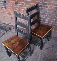 Chair Farm Chair Ladder Back Chair Wooden Chair by FurnitureFarm. Love the pine wood knots and distressed edges