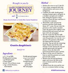 Enjoy this easy scalloped potatoes recipe of gratin Dauphinois. From Le Cordon Bleu Cuisine Foundations and The Hundred-Foot Journey movie. Scalloped Potatoes Easy, Scalloped Potato Recipes, 100 Foot Journey, Gratin Dauphinois Recipe, Coconut Smoothie, Disney Food, Disney Recipes, Walt Disney, Cordon Bleu
