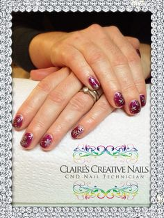 CND Shellac Tango Passion layered with Zillionaire and Silver Moyou Stamping. By Claire's Creative Nails, Northampton. Call or text: 07752 397245 to book your appointment. #shellac #northampton #nailsalon #nailstamping #moyou #christmasnails #cnd