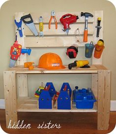 children's tool bench from a DIY book shelf kit and some extra | http://toyspark.blogspot.com