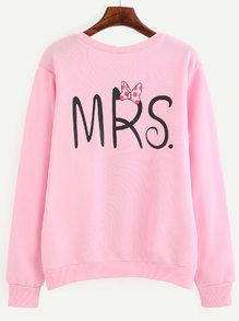 Sweat-shirt col rond motif lettres - rose