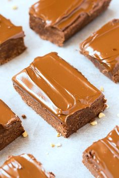 Healthy No Bake Nutella Breakfast Brownies- Thick, chewy, chocolate base with a creamy, dreamy topping- Paleo, vegan, gluten free and sugar free!