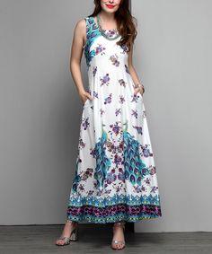 White & Blue Peacock Sleeveless Maxi Dress - Plus