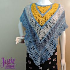 """The Julia Shawl was designed for Frabjous Fibers and Yarnbox. Its a variation of my Juliette Shawl. There were a few things I wanted to do differently with that pattern after feedback from crocheters. Crochet Cape Pattern, Crochet Patterns, Crochet Ideas, Free Pattern, All Free Crochet, Knit Crochet, Crochet Shrugs, Crochet Stitches, Ladies Poncho"