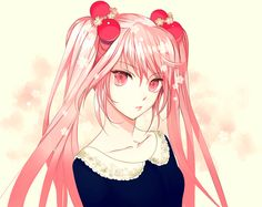 anime girl with cherries in hair