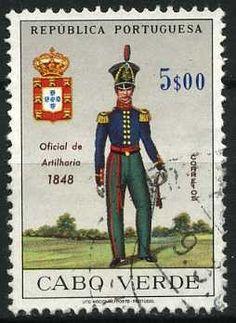 Stamp: Artillery Officer, 1848 (Cabo Verde) (Military Uniforms) Mi:CV 339,Sn:CV 336,Afi:CV 320