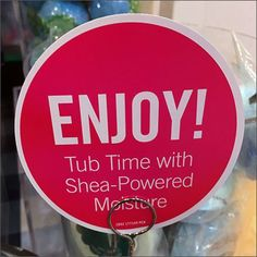 """""""Pop, Fizz, Enjoy"""" These table top sign stand clips tell you exactly and precisely How To Enjoy Tub Time In Your Bath. Bath Fixtures, Visual Merchandising, Close Up, Tub, Retail, Messages, Sign, Color, Bathtubs"""