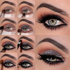 Sparkly Silver Smoky Eye Makeup Tutorial- ah mazing! Silver Eye Makeup, Dramatic Eye Makeup, Smoky Eye Makeup, Makeup For Green Eyes, Skin Makeup, Makeup Brushes, Smokey Eye, Makeup Contouring, Maquillage Mary Kay