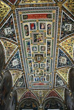 The ceiling of the Piccolomini Library in Siena, Italy