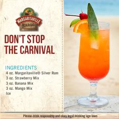 Margaritaville: Home of Frozen Concoction Makers, Frozen Drink Machines Margaritaville Machine Recipes, Margaritaville Frozen Concoction Maker, Fun Cocktails, Cocktail Drinks, Cocktail Recipes, Refreshing Drinks, Yummy Drinks, Carnival Food, Carnival Recipe